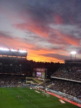 Sunset at a soccer game