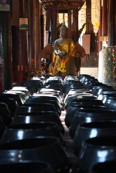 Donation bowls at a temple