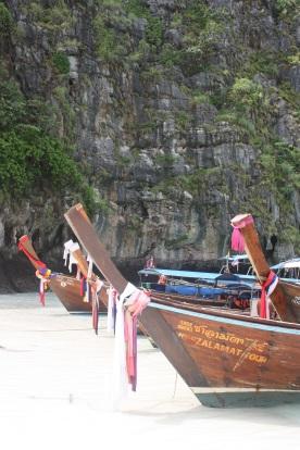 Long tail boats at Maya Beach