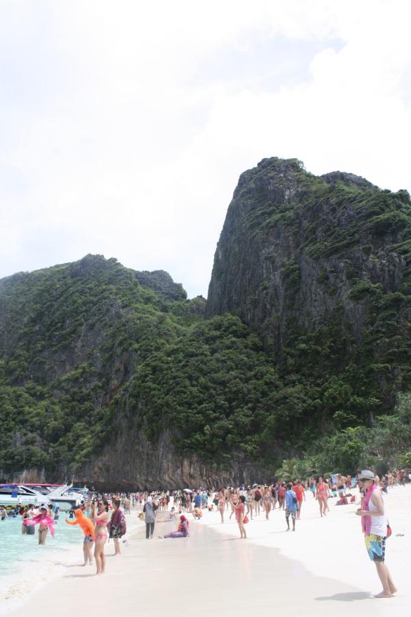 Joining the crowds at Maya beach