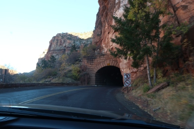 Driving through one of the tunnels on the Mt. Carmel highway