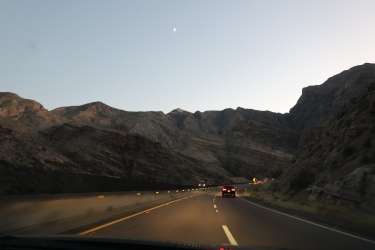 Driving through the canyons